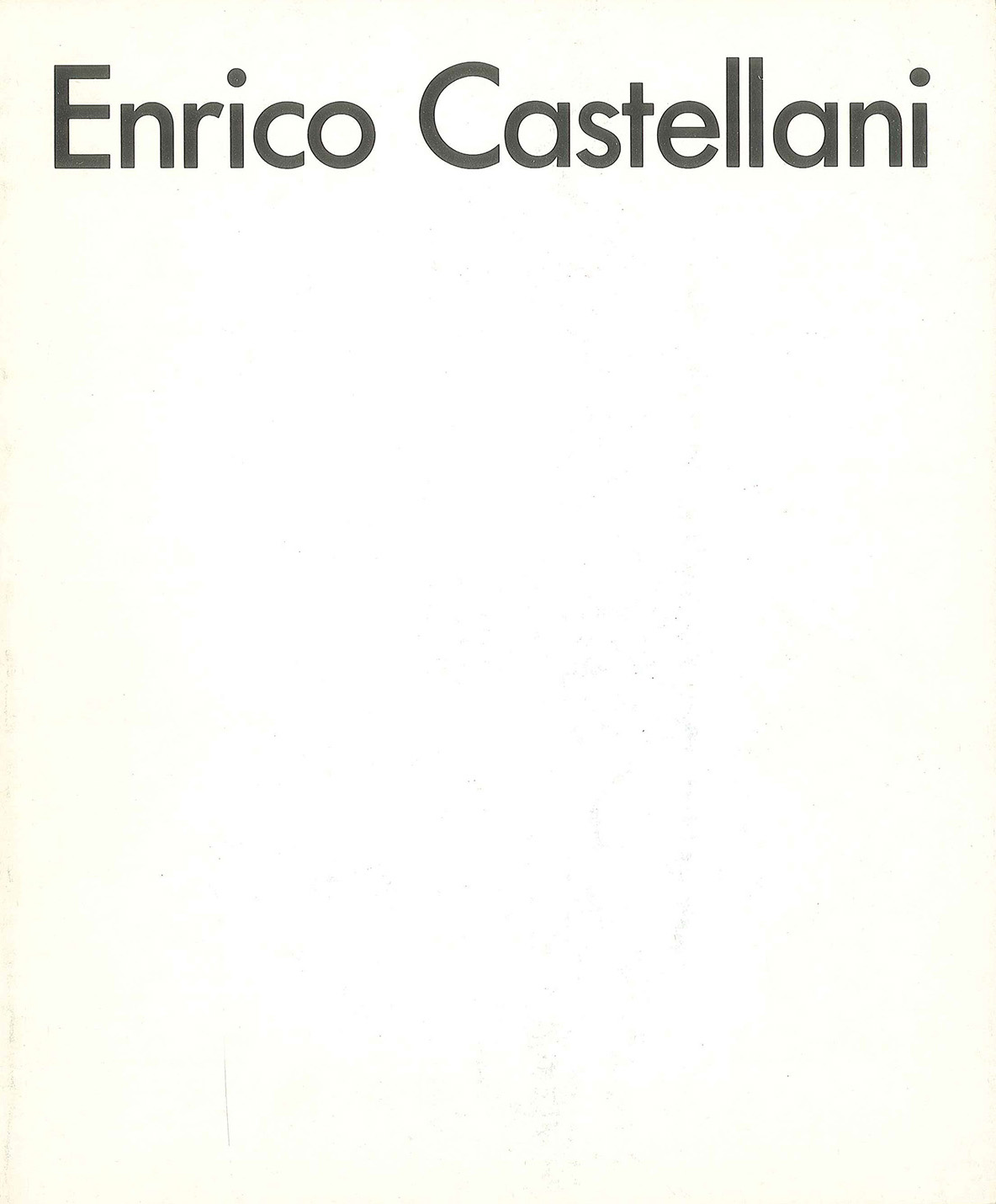 Cover - Enrico Castellani, Adachiara Zevi, 1987, Albert Totah Gallery, New York (NY, USA), Edward Totah Gallery, Londra (GBR)