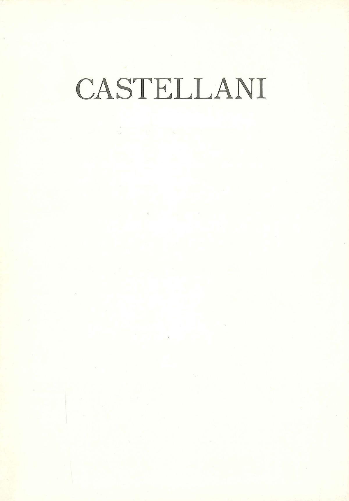 Cover - Castellani, Pier Giovanni Castagnoli, 1988, Kodama Gallery, Osaka (JPN)