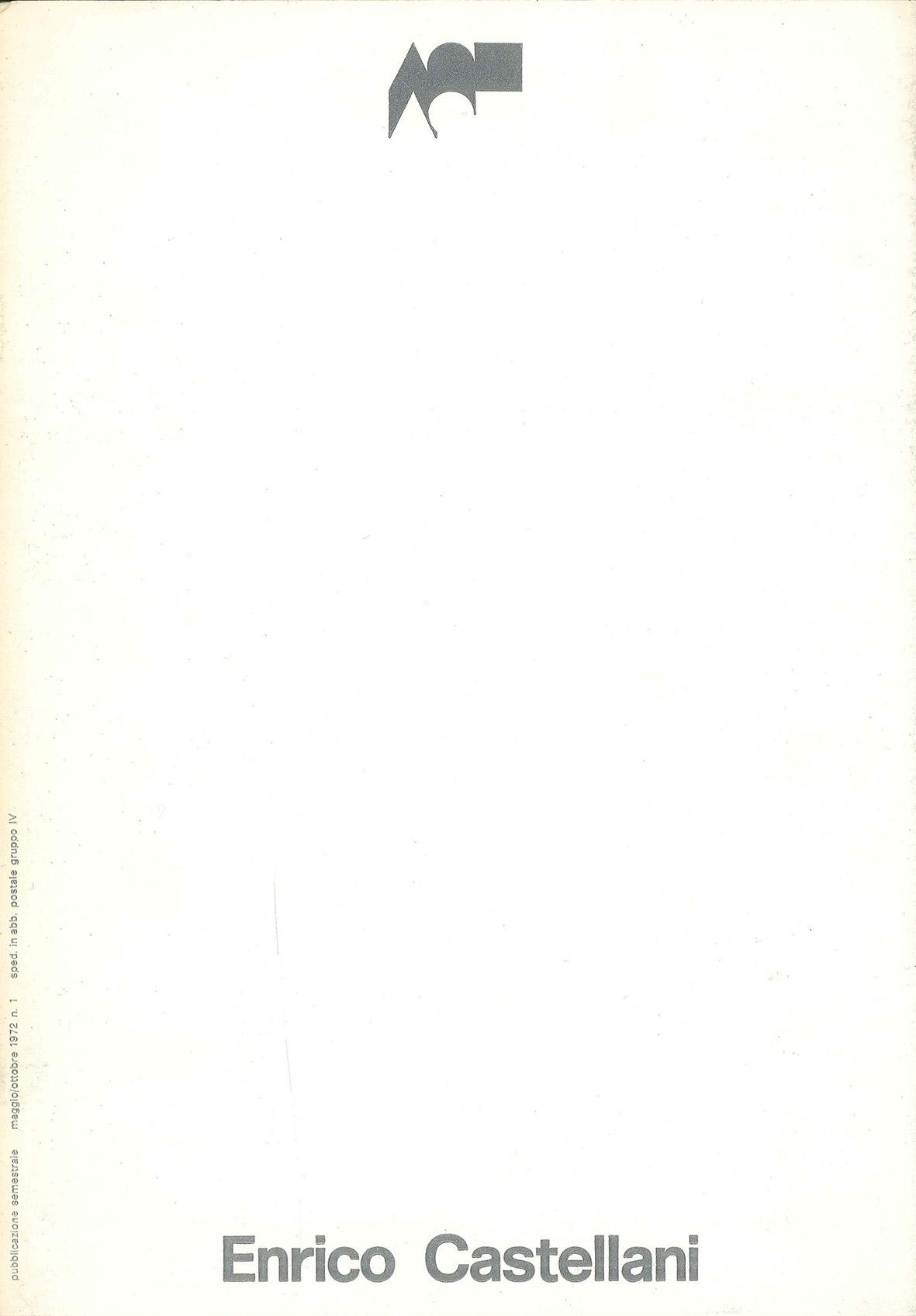 Copertina - Enrico Castellani, 1972, Galleriaforma, Genova