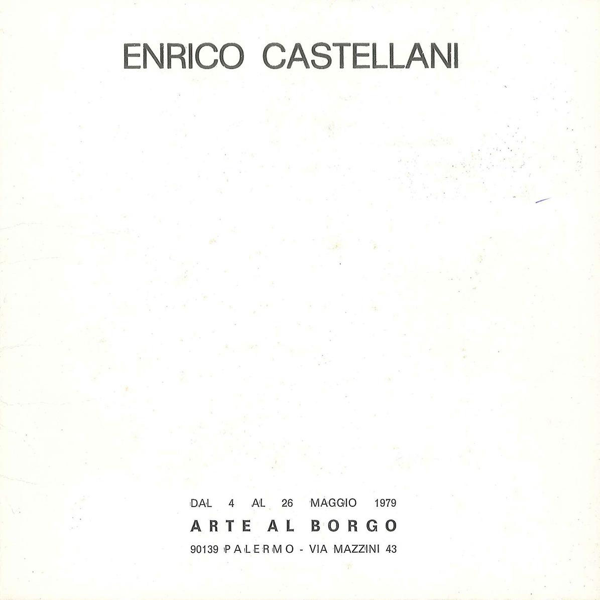 Copertina - Enrico Castellani, Gillo Dorfles, 1979, Arte al Borgo, Palermo
